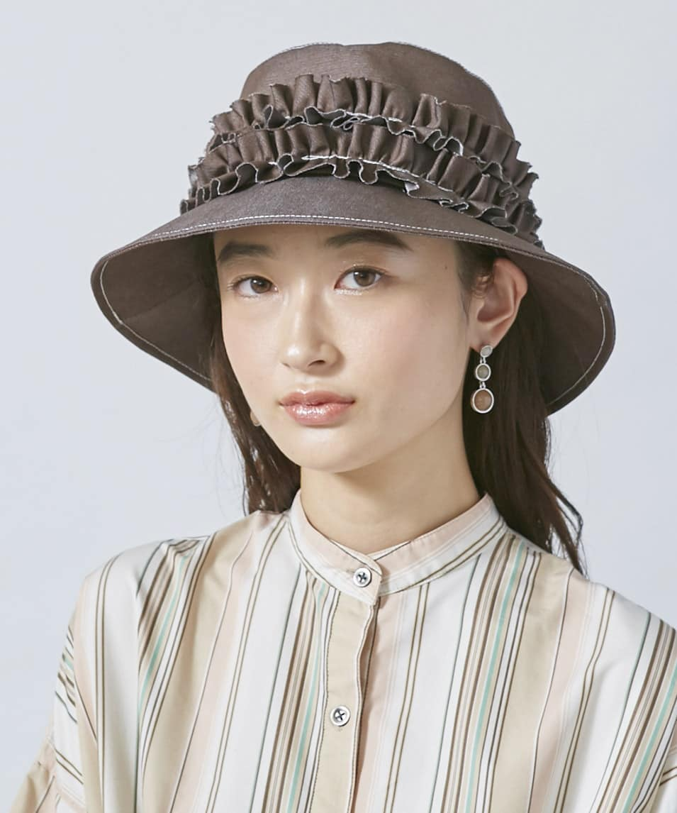 arth Denim Frill Cloche