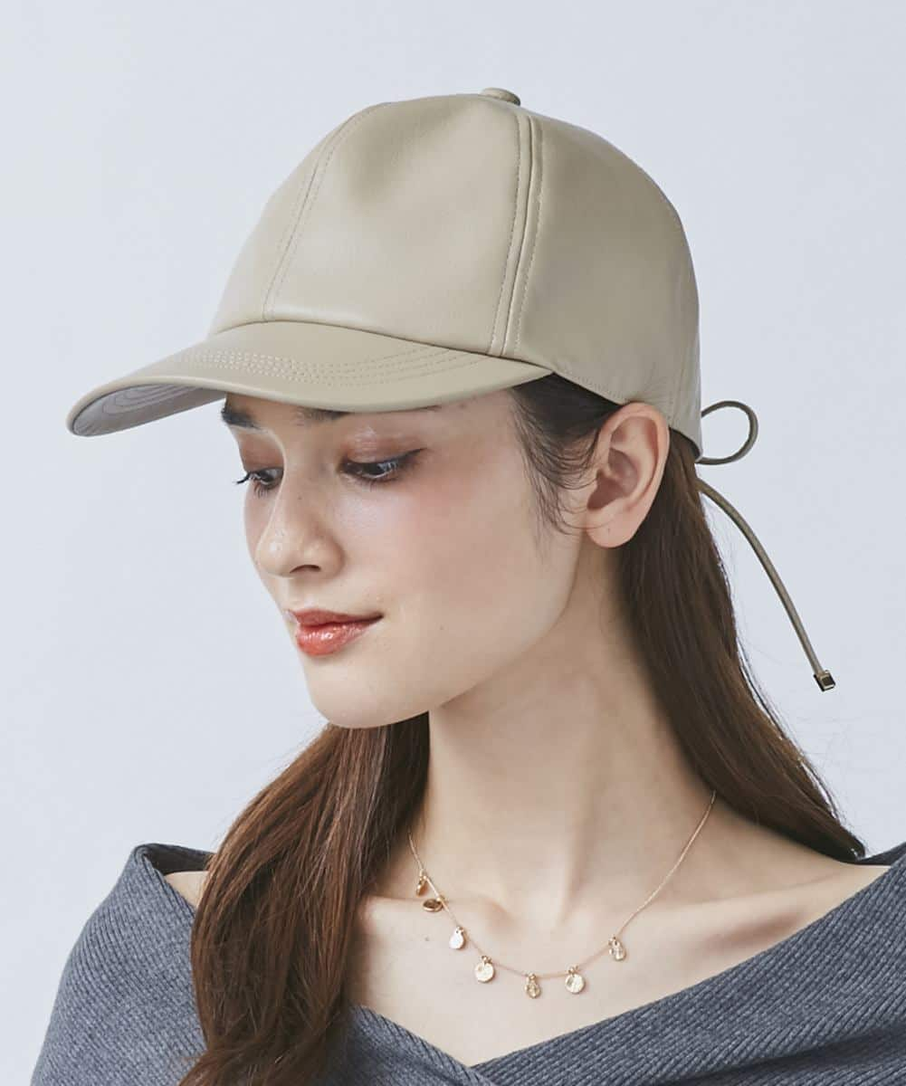 Chapeau d' O Fake Leather Lace-up Cap
